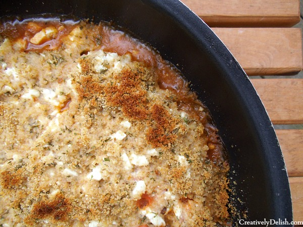 ... baked with shrimp and feta with a crispy top layer of bread crumbs