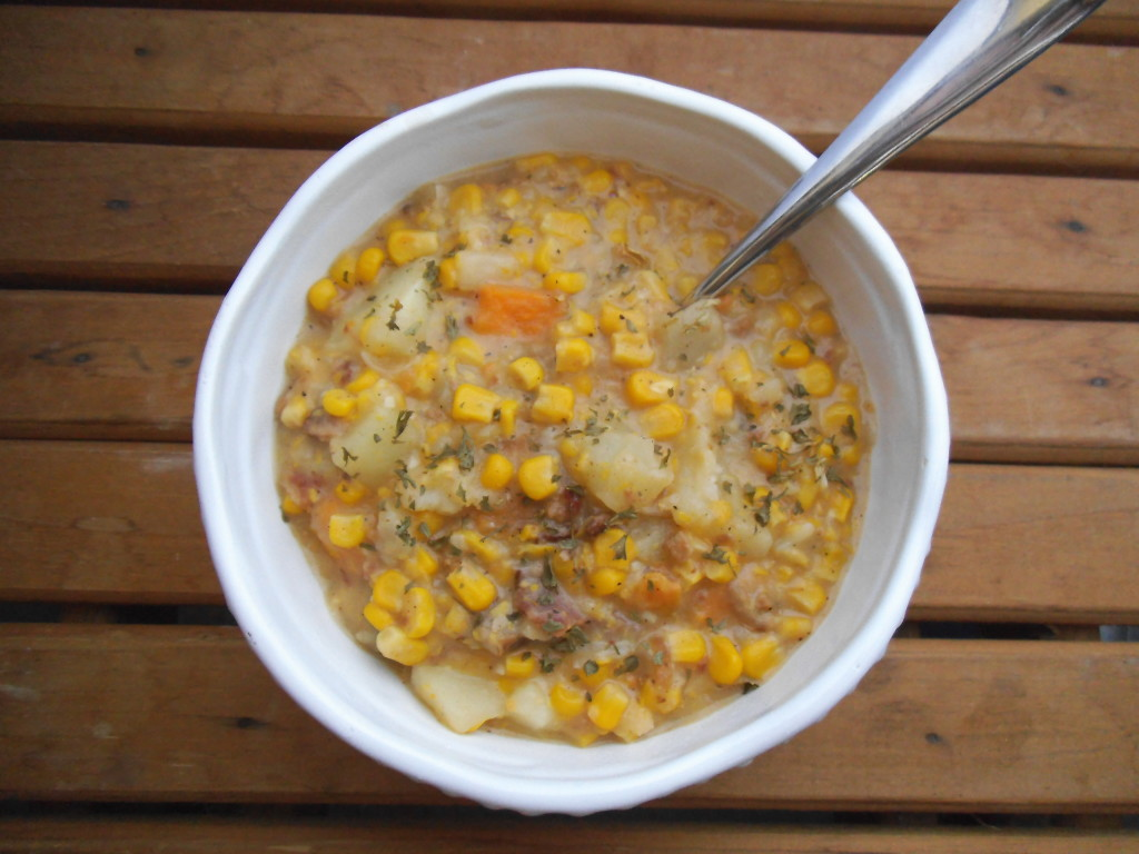 Lighter Corn & Bacon Chowder