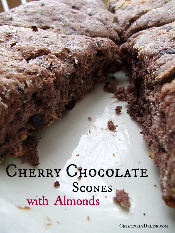 Cherry Chocolate Scones w Almonds