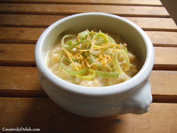 cauliflower cheddar soup & leeks 038