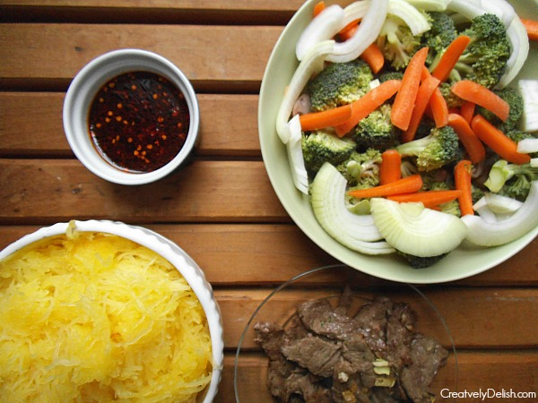 asian beef and noodles items