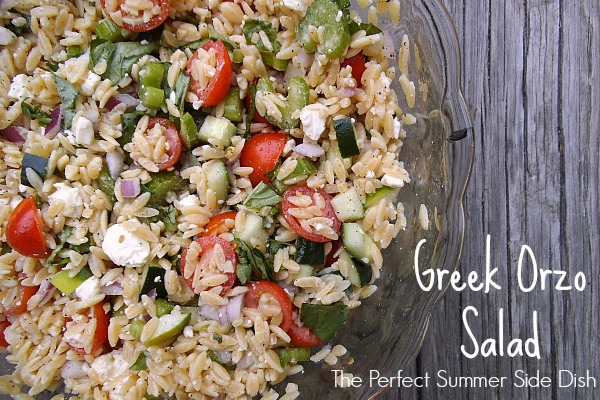 Greek orzo salad creatively delish for What side dishes go with fish
