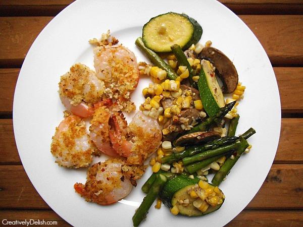 parmesan shrimp and succotsh 014